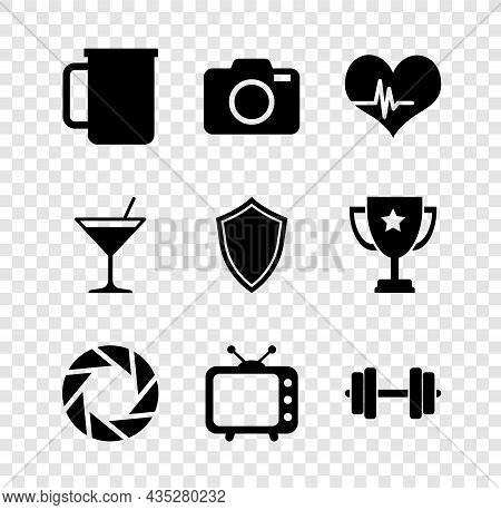 Set Coffee Cup, Photo Camera, Heart Rate, Camera Shutter, Television Tv And Dumbbell Icon. Vector