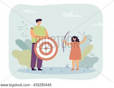 Archery Teacher With Target In Hands Teaching Child. Kid Holding Bow And Arrow Flat Vector Illustrat