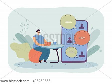 Online Conversation Of Woman With Friends. Tiny Girl Using Chat App In Laptop Or Smartphone Flat Vec
