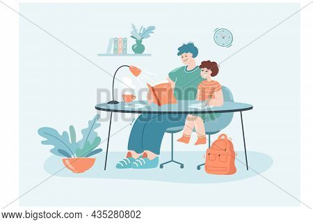 Cartoon Father Reading Book And Helping Son With Homework. Dad And Small Boy Sitting At Table Togeth