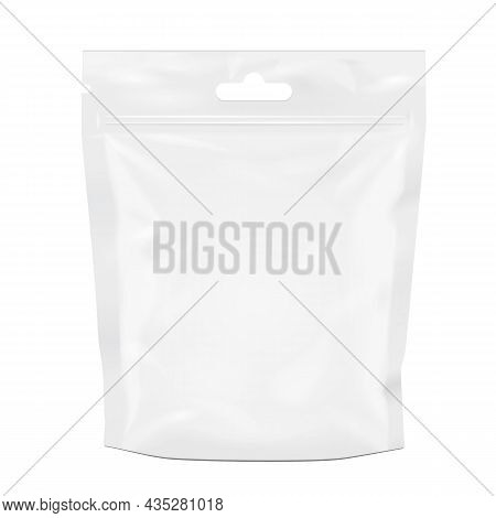 Mockup White Blank Foil Food Doy Pack Stand Up Pouch Bag Packaging With Zipper. Illustration Isolate