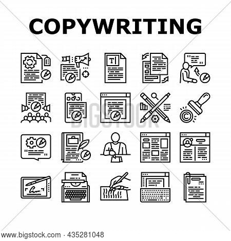 Copywriting Content Strategy Icons Set Vector. Online Copywriting And Public Relations, Typewriter O