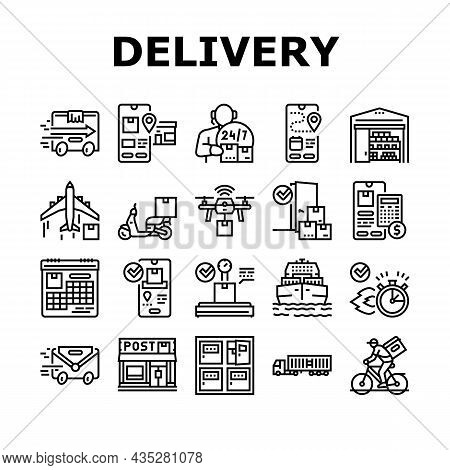 Delivery Service Application Icons Set Vector. Delivery Truck And Cargo Airplane, Bike And Scooter,