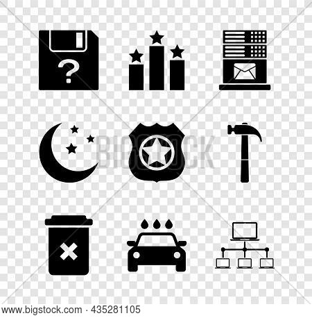 Set Unknown Document, Ranking Star, Mail Server, Trash Can, Car Wash And Computer Network Icon. Vect