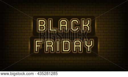 Neon Black Friday Sale, Yellow Light. Glowing Neon Text Of Black Friday For Social Media Post And On