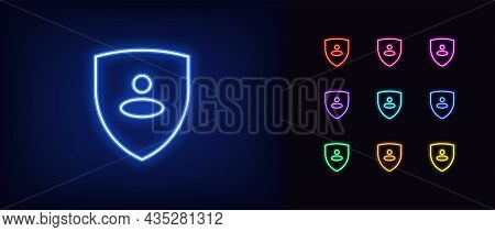 Outline Neon Shield Icon With User. Glowing Neon, Personal Guard Sign, User Security Pictogram. Prot