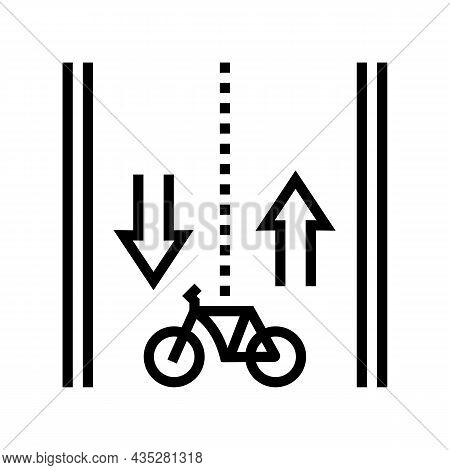 Route For Riding Bicycle Line Icon Vector. Route For Riding Bicycle Sign. Isolated Contour Symbol Bl