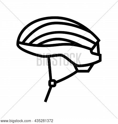 Helmet Protect For Cyclist Line Icon Vector. Helmet Protect For Cyclist Sign. Isolated Contour Symbo