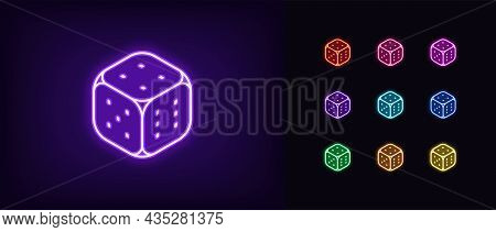 Outline Neon Dice Icon. Glowing Neon Dice Sign, Playing Cube Pictogram In Vivid Colors. Gambling Gam