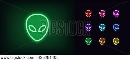 Outline Neon Alien Icon. Glowing Neon Alien Face, Humanoid Emoticon In Vivid Colors. Space Invasion,