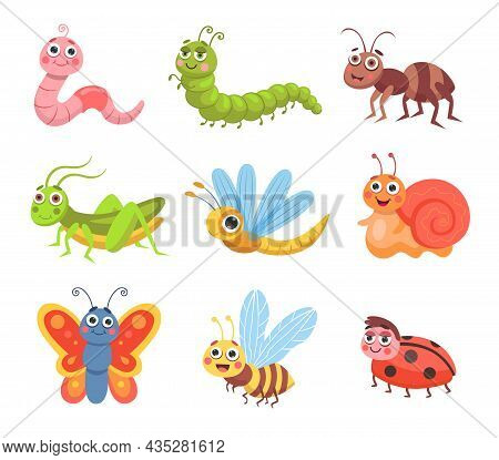 Cute Cartoon Insects Set. Vector Illustrations Of Forest Or Garden Animals, Funny Bug Characters. Co