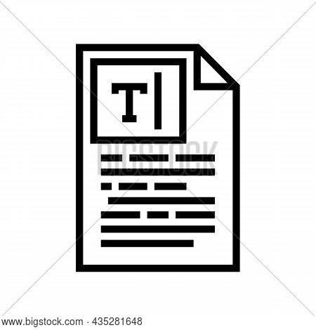 Copywriting Text Line Icon Vector. Copywriting Text Sign. Isolated Contour Symbol Black Illustration