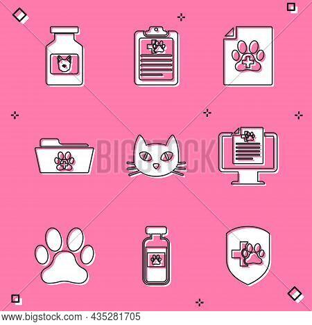 Set Dog Medicine Bottle, Clinical Record Pet, Medical Certificate For Dog Cat, Veterinary Folder, Ca