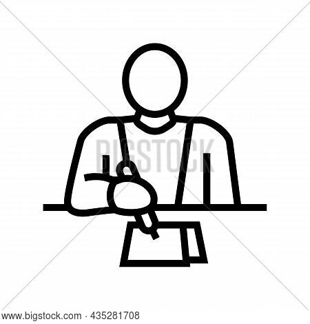 Writer Writing Article Line Icon Vector. Writer Writing Article Sign. Isolated Contour Symbol Black