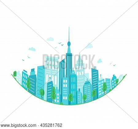 Concept Of Green City. Round Panorama Of City Buildings. Ecological Green Urban Landscape