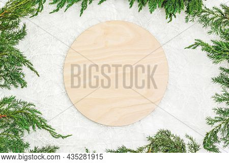 Blank Empty Round Wood Sign On White Background With Christmas Blanket, Christmas Tree Branch, Rusti