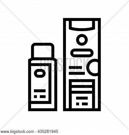 Clarifier And Oxide Packages For Hair Coloring Line Icon Vector. Clarifier And Oxide Packages For Ha