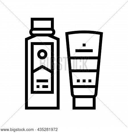 Peel And Face Scrub Gel Container And Peeling Soap Bottle Line Icon Vector. Peel And Face Scrub Gel
