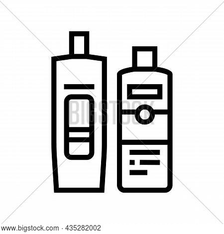 Balm And Hair Conditioner Packages Line Icon Vector. Balm And Hair Conditioner Packages Sign. Isolat