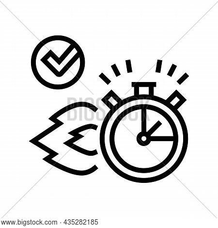 Fast Delivery Service Line Icon Vector. Fast Delivery Service Sign. Isolated Contour Symbol Black Il