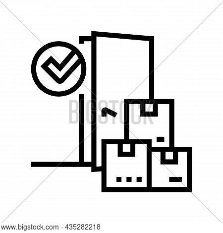 Door To Door Service Line Icon Vector. Door To Door Service Sign. Isolated Contour Symbol Black Illu
