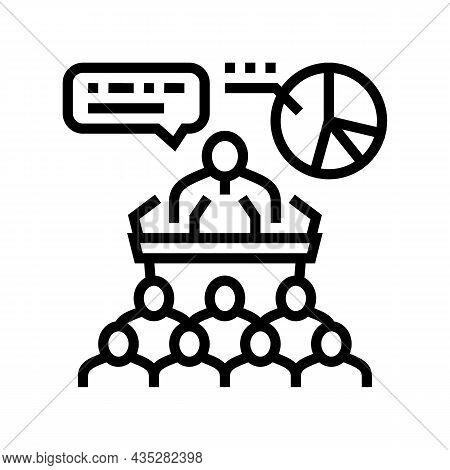 Political Campaign Line Icon Vector. Political Campaign Sign. Isolated Contour Symbol Black Illustra
