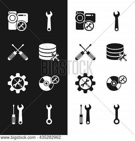 Set Database Server Service, Crossed Screwdrivers, Video Camera, Wrench, And In Gear, Cd Or Dvd Disk