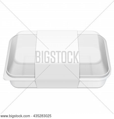 Mockup Empty Blank Styrofoam Plastic Food Tray Container Box With Lid, Cover, Lable. Illustration Is