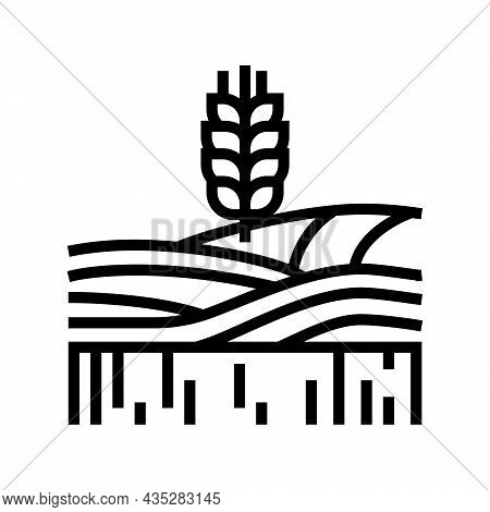 Wheat Growth Field Line Icon Vector. Wheat Growth Field Sign. Isolated Contour Symbol Black Illustra