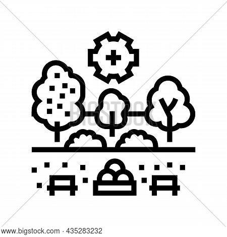 Landscape Development Services Line Icon Vector. Landscape Development Services Sign. Isolated Conto