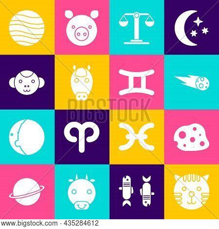 Set Tiger Zodiac, Asteroid, Comet Falling Down Fast, Libra, Horse, Monkey, Planet Jupiter And Gemini