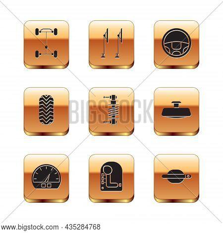 Set Chassis Car, Speedometer, Gear Shifter, Shock Absorber, Car Tire, Steering Wheel, Door Handle An