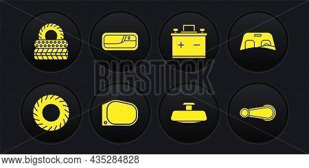 Set Car Tire, Windscreen, Mirror, Battery, Door Handle, And Icon. Vector