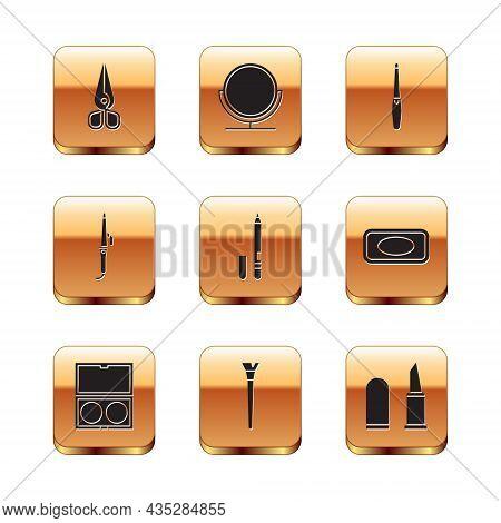 Set Scissors, Makeup Powder With Mirror, Brush, Eyeliner, Eyebrow, Curling Iron, Nail File, Lipstick