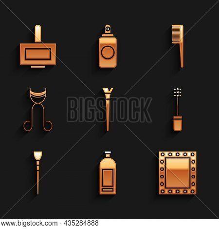 Set Makeup Brush, Bottle Of Shampoo, Mirror With Lights, Mascara, Eyelash Curler, Hairbrush And Nail