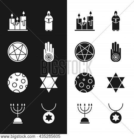 Set Jainism Or Jain Dharma, Pentagram Circle, Burning Candles, Monk, Moon, Star Of David, Necklace C