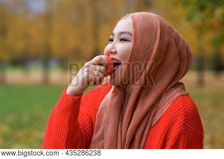 Portrait Of Happy. Beautiful Pretty Asian Muslim Young Woman, Islamic Girl Is Wearing On Her Head Hi