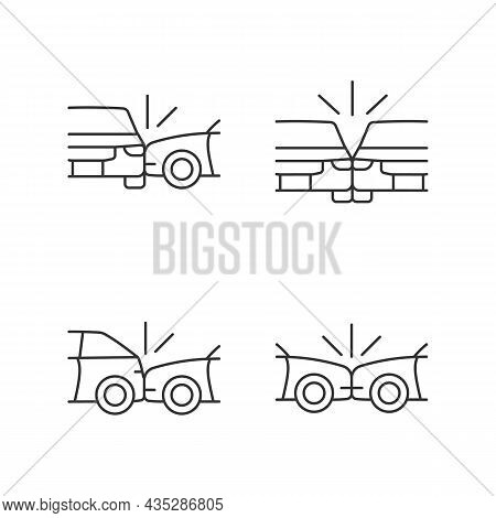 Vehicle Crashes Linear Icons Set. T-bone Collision. Sideswipe Car Accident. Hitting Auto From Behind