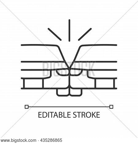 Sideswipe Car Accident Linear Icon. Blind Spot Crash. Changing Lanes Risk. Hit And Run Collision. Th
