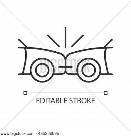 Head-on Collision Linear Icon. Frontal Crash. Two Vehicles Collide Into One Another. Thin Line Custo