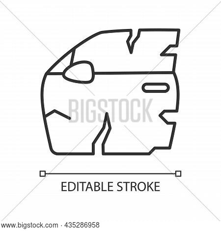 Broken Car Door Linear Icon. Road Traffic Accident. Door Panel Dents. Damaged Auto Body Side. Thin L
