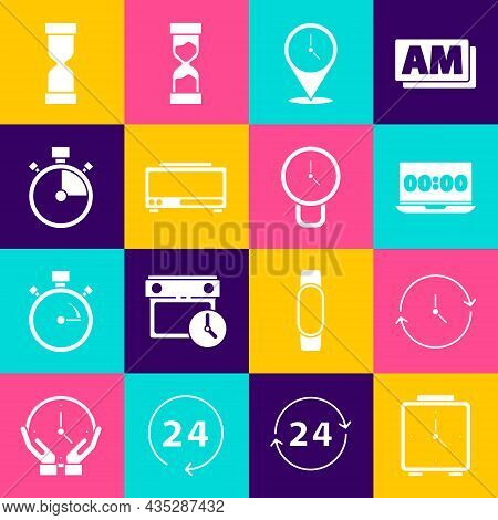 Set Alarm Clock, Clock, On Laptop, Location With, Digital Alarm, Stopwatch, Old Hourglass And Icon.
