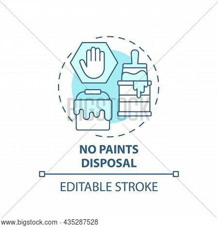 No Paints Disposal Blue Concept Icon. Waste Management Abstract Idea Thin Line Illustration. Hazardo
