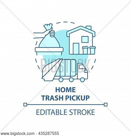 Home Trash Pickup Blue Concept Icon. Waste Collection And Disposal Abstract Idea Thin Line Illustrat