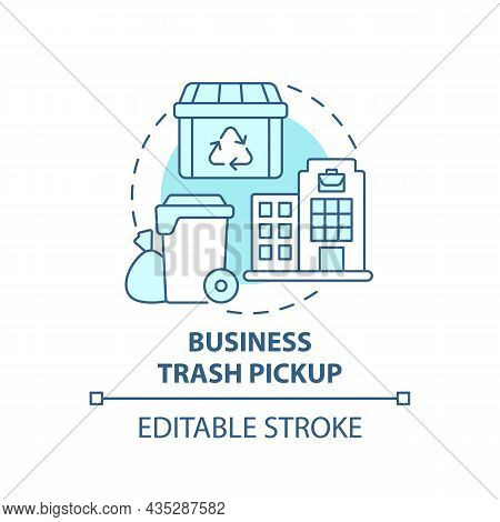 Business Trash Pickup Blue Concept Icon. Waste Management Abstract Idea Thin Line Illustration. Comm