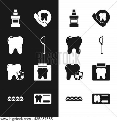 Set Dental Floss, Tooth, Mouthwash Bottle, Online Dental Care, Protection, X-ray Of Tooth, Card And