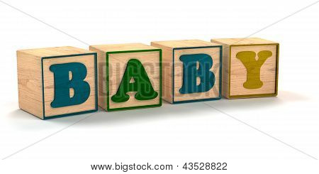 Baby Spelled  Child Color Blocks Isolated on White Background