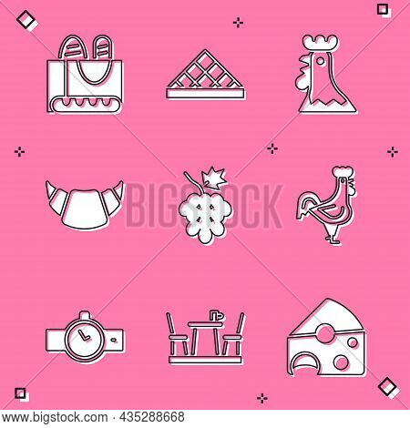 Set French Baguette Bread, Louvre Museum, Rooster, Croissant, Grape Fruit, Wrist Watch And Cafe Icon