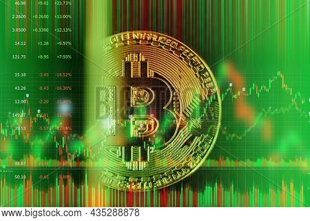 Bitcoin golden coin on abstract green financial market stock charts trading screen monitor background.