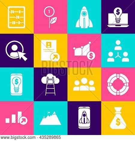 Set Money Bag, Business Lifebuoy, Project Team Base, Startup Project Concept, Job Promotion, Create